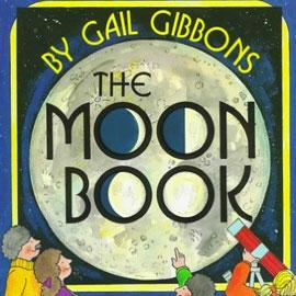 "illustrated cover of ""The Moon Book"" showing people looking at a giant moon"