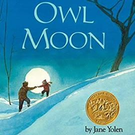 illustrated cover of Owl Moon showing an adult and child on a snowy hill with the moon in the background.