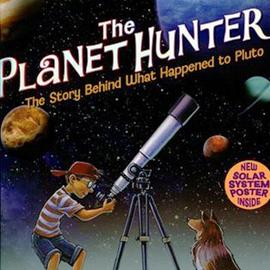 "cover of ""The Planet Hunter"" showing boy looking through telescope"