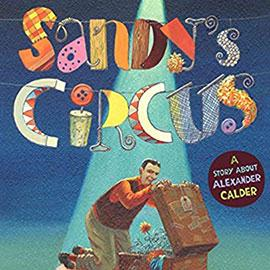 illustrated cover of Sandy's Circus showing man kneeling in front of an open suitcase. A flower is blooming inside the case.