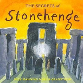 "illustrated cover of ""The Secrets of Stonehenge"" showing stonhenge"
