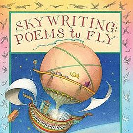 illustrated cover of Skywriting: Poems to Fly showing a hot air balloon with sails.