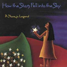 "cover of ""How the Stars Fell into the Sky"" showing a girl holding a star and a pile of stars next to her"