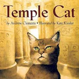 "cover of ""Temple Cat"" showing cat in front of columns with hieroglyphs on them"