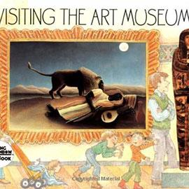 illustrated cover of Visiting the Art Museum showing family in front of a painting of a lion