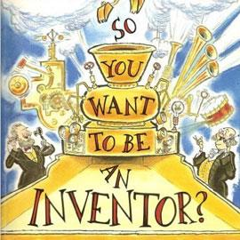 "cover of ""So You Want To Be an Inventor"" showing musical instruments and two men on the phone"