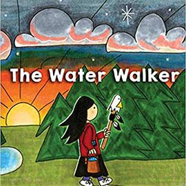 illustrated cover of The Water Walkway showing girl walking through woods holding a stick with a bird's head on top of it.