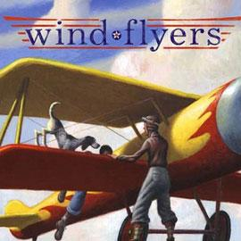 "cover of ""wind flyers"" showing boy and dog on the wing of a prop plane"
