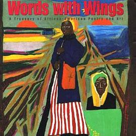 painted cover of Words With Wings showing two women in front of sunsets.