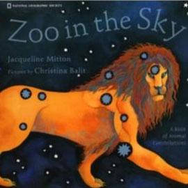 """cover of """"Zoo In the Sky"""" showing a lion against the night sky"""