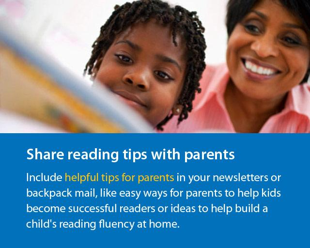 "woman and boy reading and text ""Share reading tips with parents""."