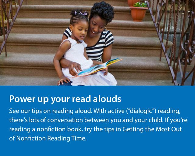 a woman and young girl sitting on the steps and reading and text saying Power Up Your Read Alouds.