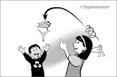 drawing of two children playing with a rotocopter