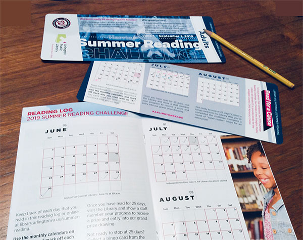 Close-up of summer reading challenge log sheet for kids